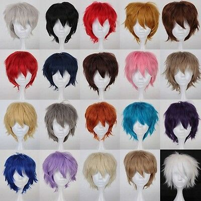 Women Men Cosplay Hair Wig Short Pixie Straight Anime Party Dress Blonde Red - Mens Short Blonde Wig
