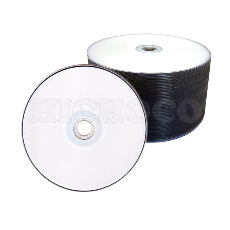 100 White Top Surface Blank DVD-R DVDR 16X Disc Disk Media 4.7 GB