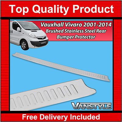 VAUXHALL VIVARO 01-14 REAR BUMPER PROTECTOR TOUGH STAINLESS STEEL COVER BRUSHED