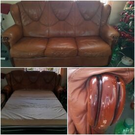 Pull out leather sofa bed