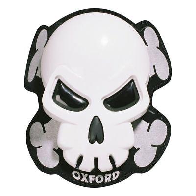 Oxford Skull Motorcycle Motorbike Knee Sliders White