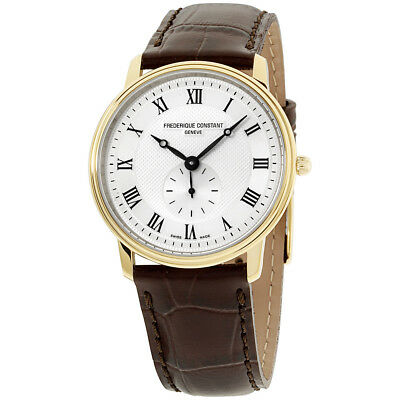Frederique Constant Slimline Silver Dial Leather Strap Men's Watch FC235M4S5