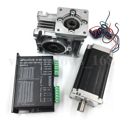 Nema23 Stepper Motor Driver Kit Worm Gearbox Speed Reducer Cnc Single Axis Set
