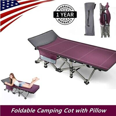 Portable Folding Bed Cot Sleeping Outdoor Camping Hiking Guest Bed w/ 4D Pillow
