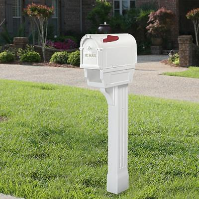 Mailbox Post Combo Kit All-in-One Newspaper Parcel Port Will Not Rust White - Mailbox Kit
