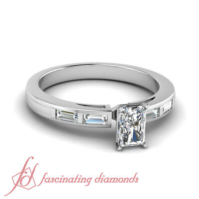 Bar Set Engagement Ring 1.3 Ct Radiant Very Good Cut Diamond SI1-F Color 14K GIA
