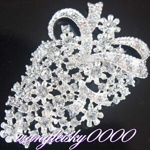 Crystal Rhinestone Flowers Brooch Pins Jewellery Wedding Bridal Party Many Style