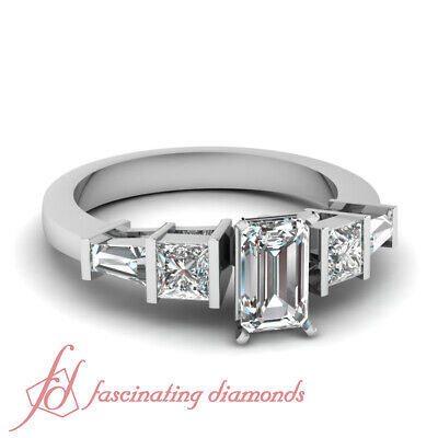 1.30 carat Emerald And Baguette 3 Stone Diamond Engagement Ring For Women GIA