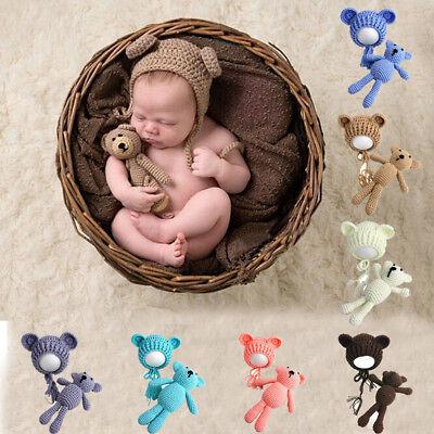 Neugeborenen Baby Fotografie Strick Kostüm Mütze Fotoshooting Häkelkostüm Bär