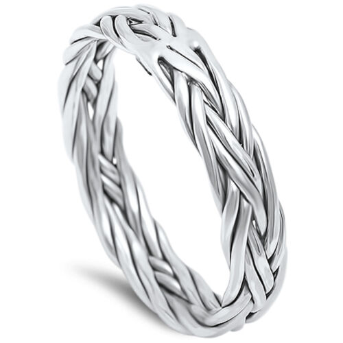 Braided Celtic Band .925 Sterling Silver Ring sizes 5-13