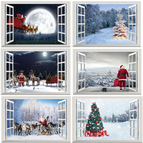 Home Decoration - US! Christmas Santa Window Home Decor Large Removable 3D Xmas Sticker Wall Decal