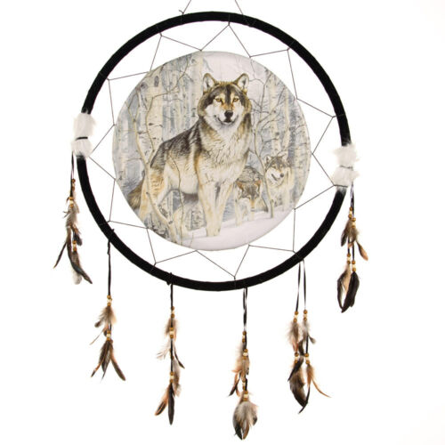 """Giant 26"""" Wolf Pack Snow Winter Woods Forest Scene Dream Catcher Feathers 2684"""