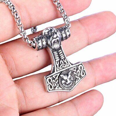 MENDEL Mens Viking Odin Fenrir Thors Hammer Pendant Necklace Stainless Steel