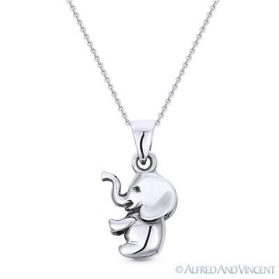 3D Baby Elephant Animal Charm Pendant & Chain Necklace in .925 Sterling Silver Elephant Animal Charm Pendant