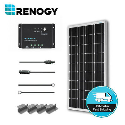 Renogy Solar Panel 100W Watt 12V PV Off Grid Kit for RV Boat Battery Charger