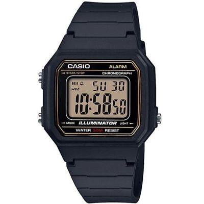 Casio W217H-9AV, 50 Meter WR Chronograph Watch, Alarm, Black Resin, Illuminator
