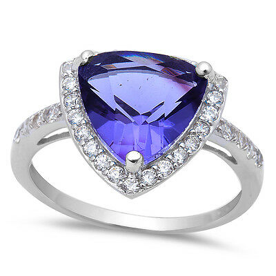 5.50ct Trillion Cut Tanzanite & CZ .925 Sterling Silver Ring Stone  Sizes 5-10 5 Stone Silver Ring