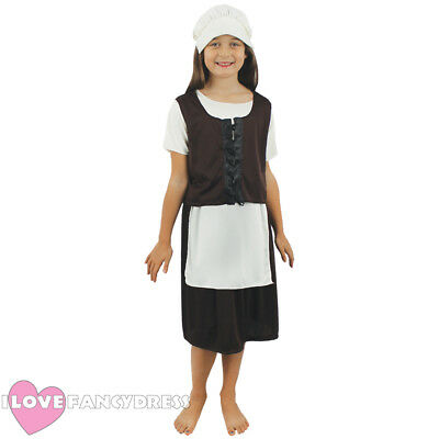 CHILD TUDOR GIRL COSTUME POOR MEDIEVAL MAID CHILDS SCHOOL CURRICULUM FANCY DRESS