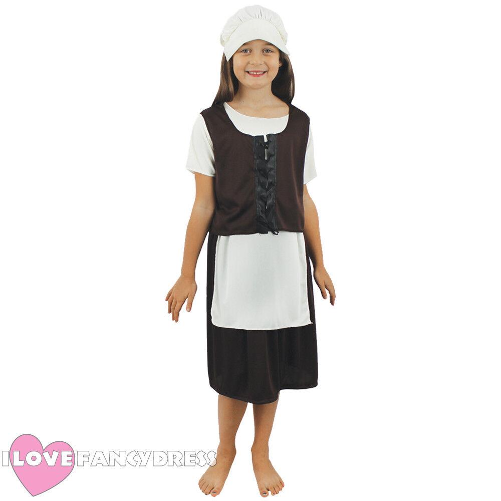 42045a0b531ef CHILD TUDOR GIRL COSTUME POOR MEDIEVAL MAID CHILDS SCHOOL CURRICULUM FANCY  DRESS