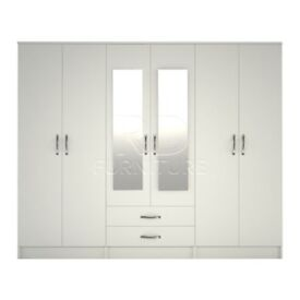 classy wardrobe 4 you, 2,28m wide 6 door white wardrobe