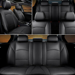 US PU Leather Seat Covers For Ford F-150 2010-2016 Front+Rear Black