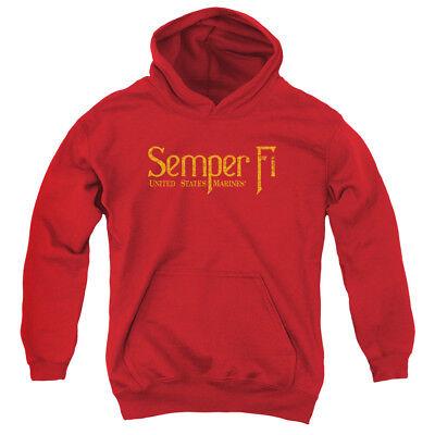 Corps Kids Sweatshirt - US MARINE CORPS SEMPER FI Kids Hoodie Sweatshirt  SM-XL BOYS GIRLS SZ 6-20
