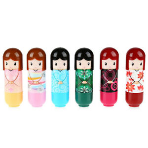 Set of 6 Lip balm Japanese Kimono doll Novelty gloss / lipstick girls beauty kit