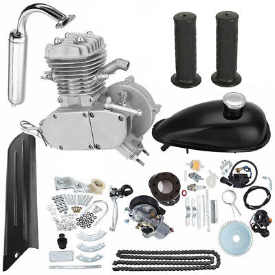 80cc 2-Stroke Cycle Engine Motor Kit Petrol Gas for Motorized Bicycle Silver ()