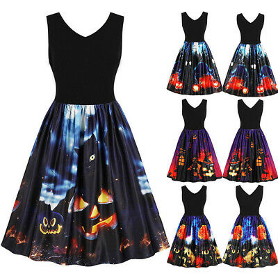 Halloween Prom (Women Sleeveless Vintage Pumpkins Halloween Evening Prom Costume Swing Dress)