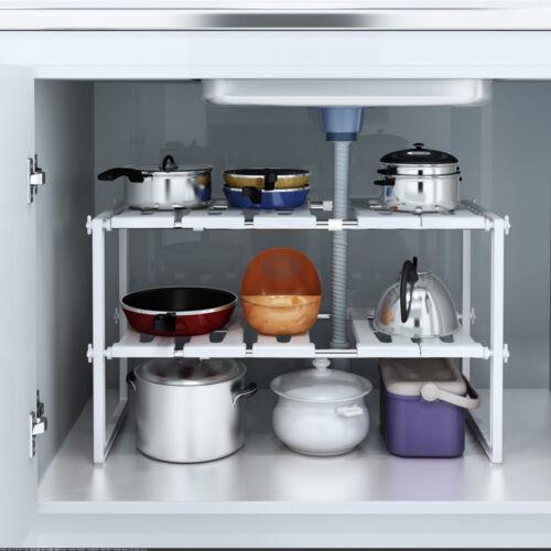 Under Sink 2 Tier Expandable Shelf Organizer Rack Storage Ki