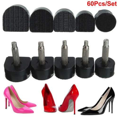 Details about 60PCS5 Sizes Black High Heel Shoe Repair Tips Taps Pins Dowel Lifts Replacement