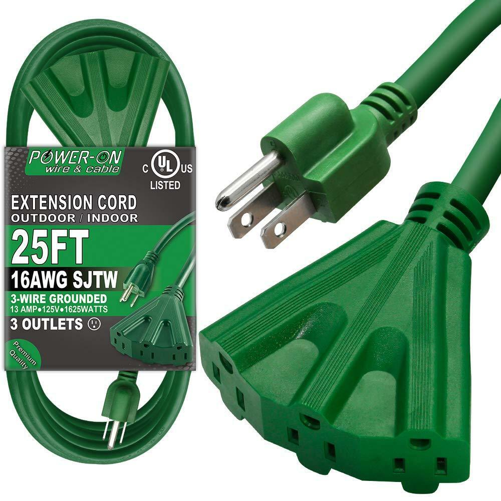 Extension Cord Heavy Duty, 25 Feet 3 Outlet for Indoor/Outdoor Use,UL Listed