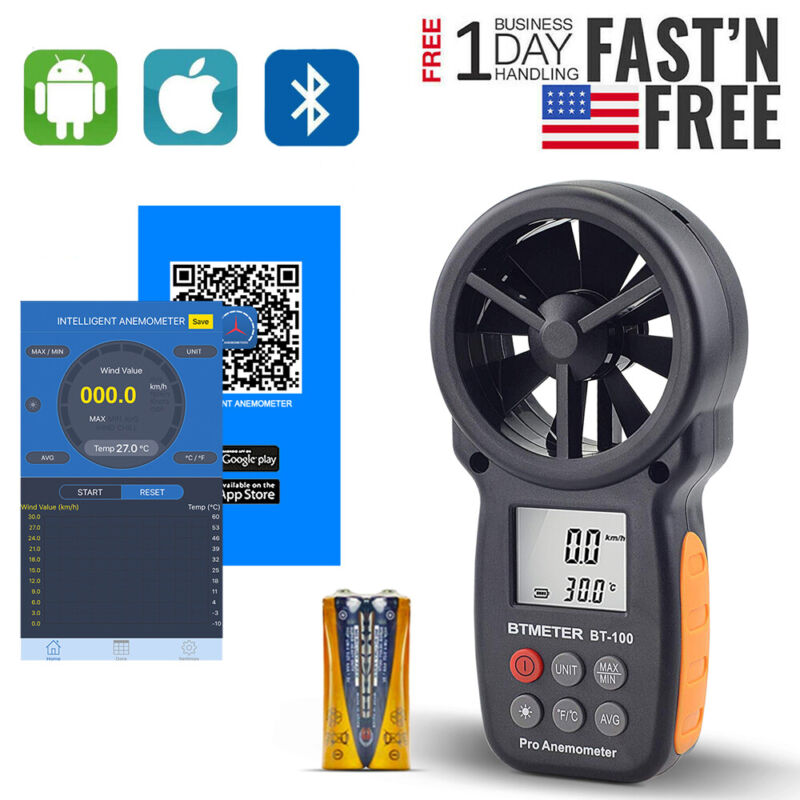 Anemometer With Phone APP Wireless Bluetooth Meter measuring Wind Chill,Speed