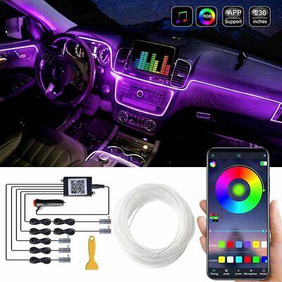 5 Meters Car Interior Ambient Light RGB LED Neon Strip Bluetooth Phone APP 5in1