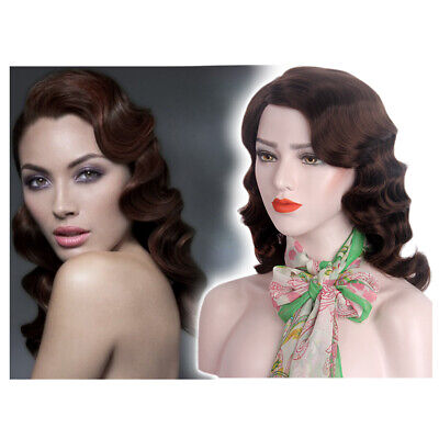 Finger Wave Wig (1920s Finger Wave Wigs Women Cosplay Long Flapper Brown Curly Synthetic Hair)