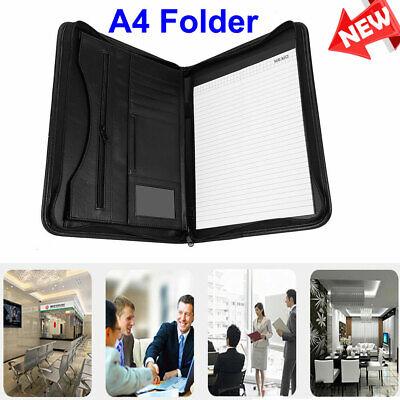 A4 Zipped File Organization Folder Business Faux Leather Document Bag Portfolio