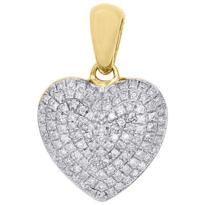 10K Yellow Gold Ladies Round Diamond Heart Pendant Puffed Pave Charm 0.29 - Ladies Puffed Heart