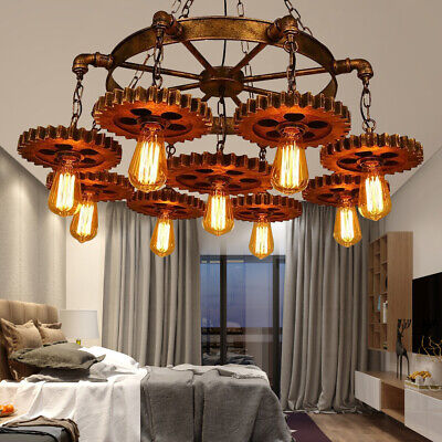 Vintage Industrial Gear Light Cafe Creative Nostalgic Craft Chandelier US STOCK