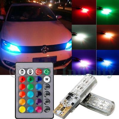 2X Remote Control 3W Rgb Multicolor Led Bulb Parking Lights T10 194 168 W5w 2825