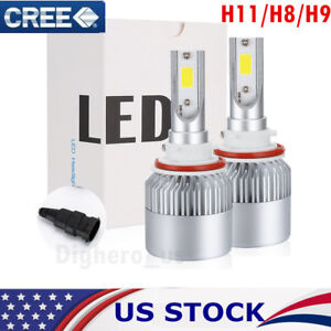 2x H11 LED HEADLIGHT H8 H9 1200W 168000LM CREE COB BULBS HIGH BEAM KIT 6500K US