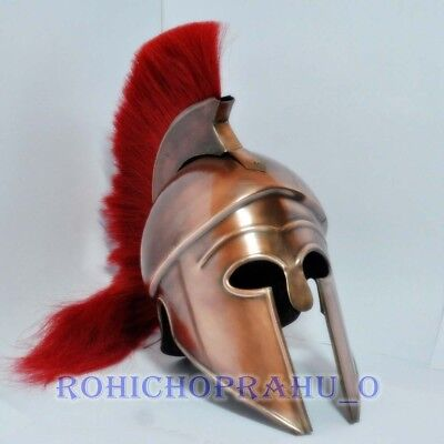 Costume Armor Medieval Roman Spartan Helmet Adult Size w/ lume Red Best gift (Best Spartan Costume)