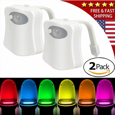 2-Toilet Night Light Motion Activated 8-Color LED Sensor Bowl Seat Glow Lamp 2 Light Bowl Light