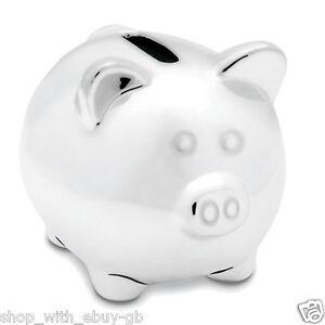 SILVER CERAMIC PIGGY BANK / MONEY BOX / PIG - IDEAL CHRISTENING NEW BABY GIFT