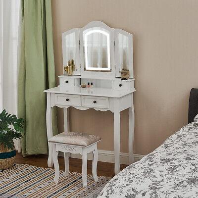 Dressing Table W/ 4 Drawer Stool Set Makeup Vanity Desk White LED Light Mirror