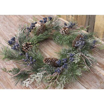 New Primitive Country Farmhouse Rustic FROSTED BLUE BERRY PINE CHRISTMAS WREATH  Berry Christmas Wreath