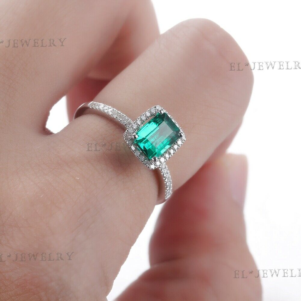 10K White Gold Treated Emerald Diamond Wedding Fine Ring Jewelry ...