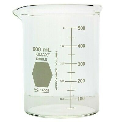 600ml Beakers Pak 6 Kimble 14005 Heavy Duty Griffin Style Lab Glass 20 Oz.