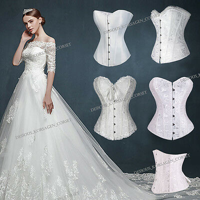 Weiße Korsetts (Frau Elegant Weiß Braut Korsett Dessous Hochzeit Vollbrust Taillen Korsage S-6XL)