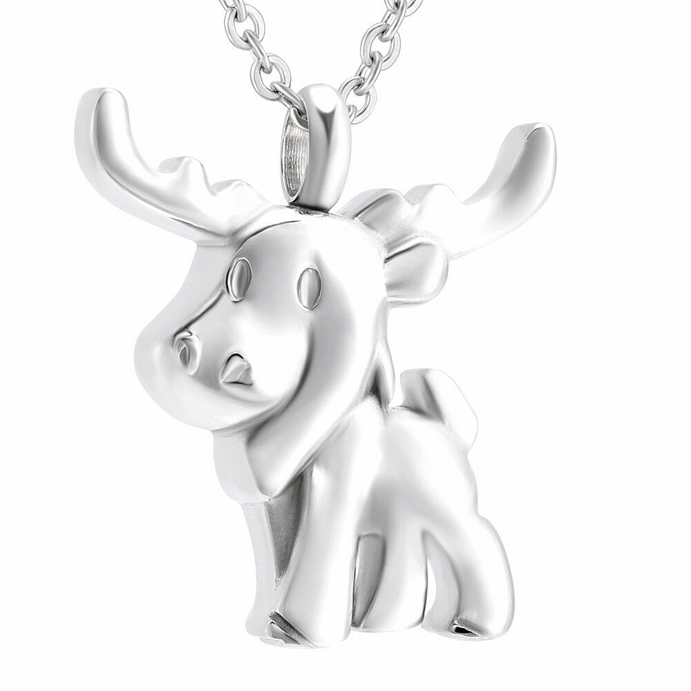Small Deer Women`s Cremation Necklace Chain Pendant Keepsake