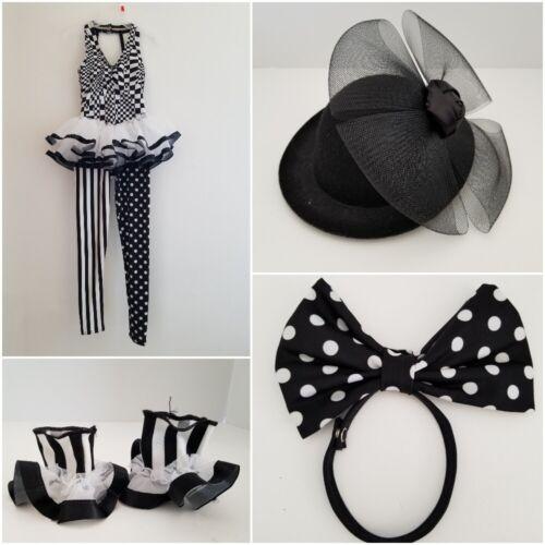Weissman Dance Costume Child S 6/6X Black White Leotard Hat Wrist Cuffs Hair Bow